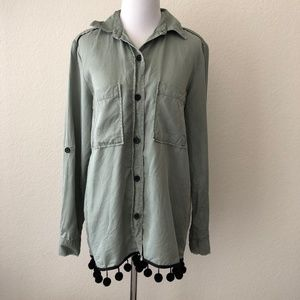 Zara Military Button Up Top Pom Pom Green M